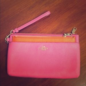 Brand new leather clutch  pink